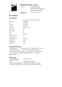 Mitsubishi Carisma 1.6 GLX 15.200 TL İlan detayları