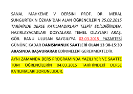sanal mahkeme v dersi alan öğrencilerin dikkatine (25.02.2015)