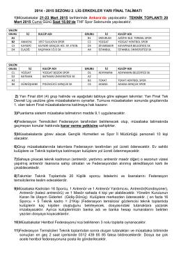 2014 - 2015 SEZONU 2. LİG ERKEKLER YARI FİNAL TALİMATI 1