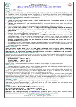 Yarışma Şartnameleri - Devlet Su İşleri Genel Müdürlüğü
