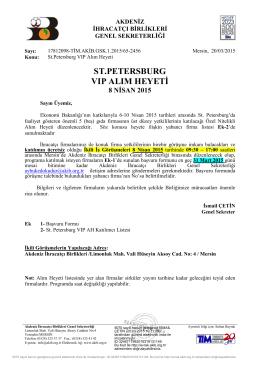 ST.PETERSBURG VIP ALIM HEYETİ - Akdeniz İhracatçı Birlikleri