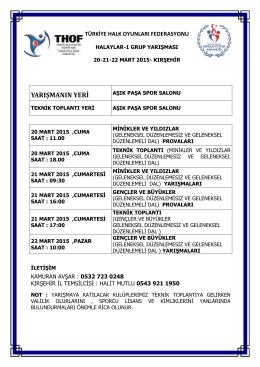 kırşehir grup yarışması programı - Türkiye Halk Oyunları Federasyonu