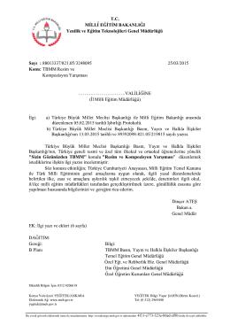 Müdürlüğümüzün konu ile ilgili 26/03/2015 tarih ve 3314710 sayılı