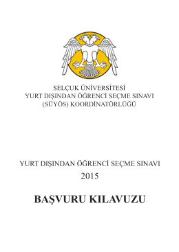 SÜYÖS-2015 / Başvuru Kılavuzu