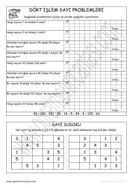 3. sınıf kolay sayı problemleri