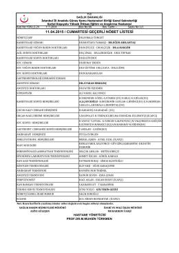 11 - Kartal Koşuyolu Yüksek İhtisas Eğitim ve Araştırma Hastanesi