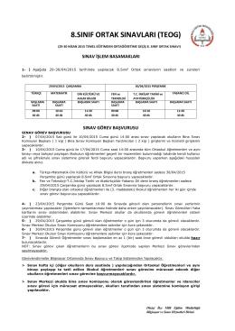 8.sınıf ortak sınavları (teog) - düziçi ilçe millî eğitim müdürlüğü