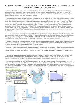 Fluid Mechanics Bütünleme Sınavı Soruları ve Çözümleri