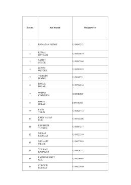 Sıra no Adı-Soyadı Pasaport No 1 RAMAZAN AKSOY U 09645552 2