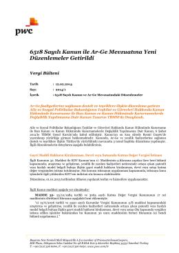 6518 Sayılı Kanun ile Ar-Ge Mevzuatına Yeni