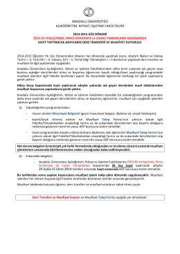 Muafiyet Talep Formu - Anadolu Üniversitesi