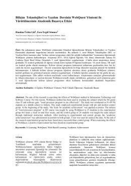 Bilişim Teknolojileri ve Yazılım Dersinin WebQuest Yöntemi - Inet-tr