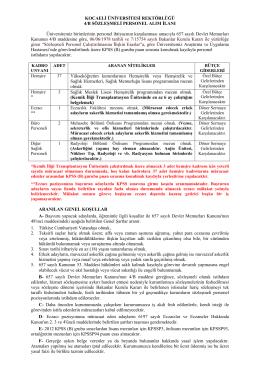 657 4/B Sözleşmeli Personel Alımı İlanı