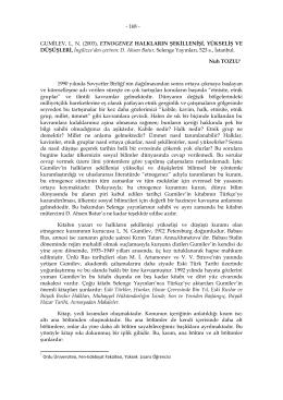 - 168 - GUMİLEV, L. N. (2003), ETNOGENEZ