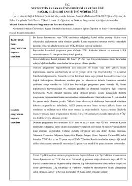 2014-2015 Eğitim Öğretim Yılı Bahar Yarıyılı Tezli /Tezsiz Yüksek
