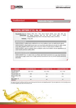 LUKOIL GEYSER LT 32, 46, 68 Endüstriyel Hidrolik Yağlar