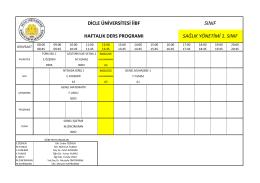 Sağlık Yönetimi Bölümü Ders Programı