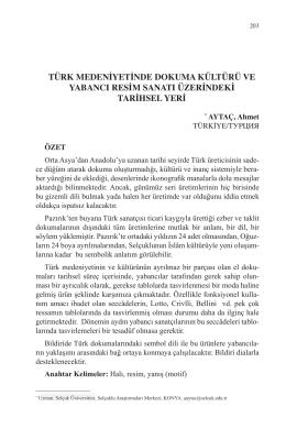 AYTAÇ, Ahmet-TÜRK MEDENİYETİNDE DOKUMA KÜLTÜRÜ