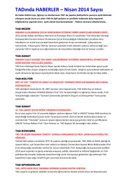 TADında HABERLER – Nisan 2014 Sayısı - Türk