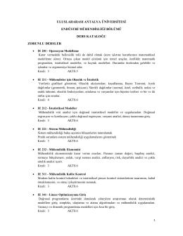 uluslararası antalya üniversitesi endüstri mühendisliği bölümü ders