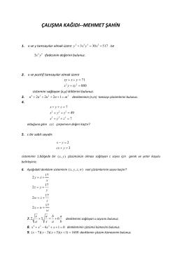 çalışma kağıdı 2 - Matematik.com.tr