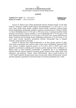 Kayseri Bünyan Elbaşı Köyü 26 pafta 6628 parsel Sit Alanı Dışındaki
