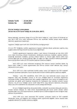 34 Seri No.lu ÖTV Genel Tebliği, RG 19.04.2014, 28977