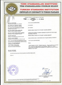 certıfıcate of conformıty to turkısh standards