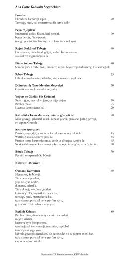 A la Carte Kahvaltı Seçenekleri Kahvaltı Menüsü