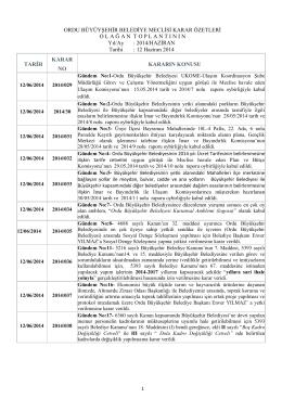 haziran 2014 ayı meclis karar özetleri
