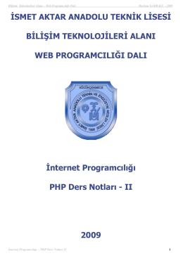 PHP_ders_notu_2 - İsmet Aktar Teknik ve Endüstri Meslek Lisesi