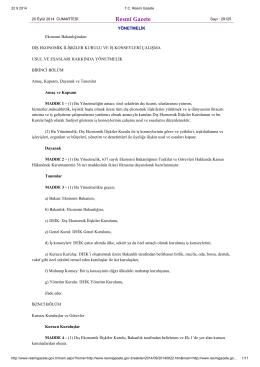 Dış Ekonomik İlişkiler Kurulu ve İş Konseyleri Çalışma Usul