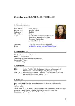 Curriculum Vitae-Ph.D. ASUMAN SAVAŞCIHABEŞ