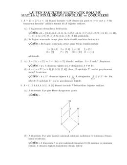 MAT115 Soyut Matematik I Final Sınav Soruları ve Çözümleri
