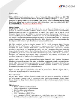 ISO / TS 16949 Ot - ABİGEM Eskişehir