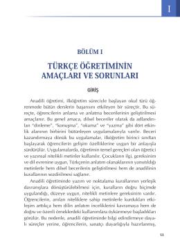 türkçe öğretiminin amaçları ve sorunları
