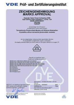VDE Prüf- und Zertifizierungsinstitut Zeichengenehmigung