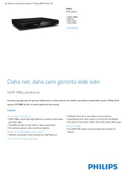 Product Leaflet: HDMI 1080p USB 2.0 DivX Ultra DVD oynatıcı