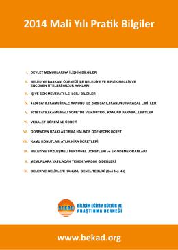 2014 Mali Yılı Pratik Bilgiler