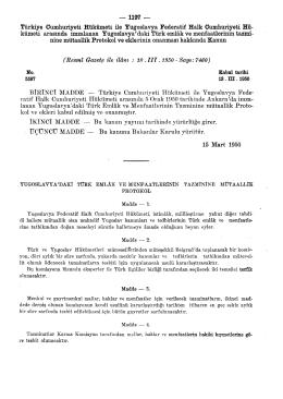 Türkiye Cumhuriyeti Hükümeti ile Yugoslavya