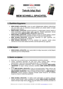Teknik bilgi föyü - MEM Bauchemie GmbH