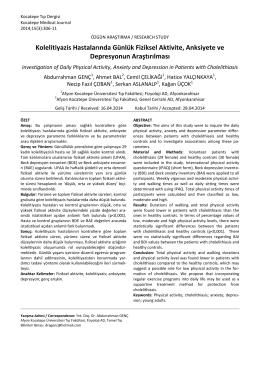 Kolelitiyazis Hastalarında Günlük Fiziksel Aktivite, Anksiyete ve