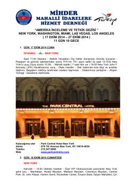 """AMERİKA İNCELEME VE TETKİK GEZİSİ "" NEW YORK"