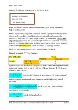 Bağımlı Örneklerde Ki-Kare testi -- Mc Nemar
