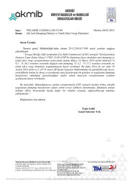 AB Anti-Damping Önlemi ve Telafi Edici Vergi Önlemleri