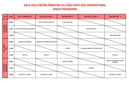 2014-2015 eğitim öğretim yılı göle myo güz dönemi final sınavı