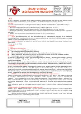 Şikayet ve İtiraz Değerlendirme PDF Dosyası için tıklayınız