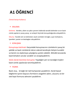 A1/A1+/A2 Kurlar Açıklaması