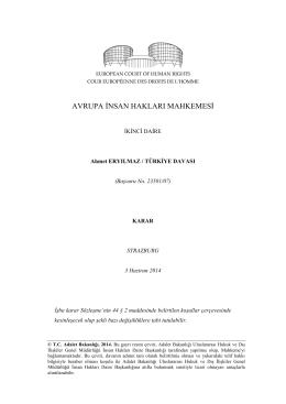 3 Haziran 2014 tarihli Ahmet Eryılmaz v. Türkiye