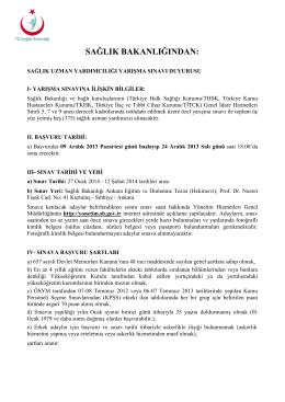 SAĞLIK BAKANLIĞINDAN: - Sağlık Bakanlığı Personel Genel